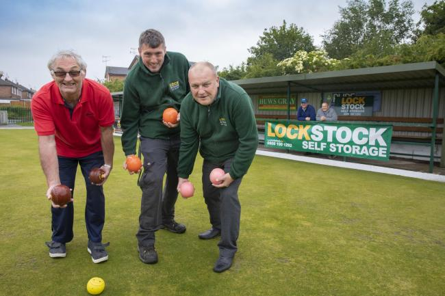 LockStock sponsor Johnstown Bowling club; Pictured (From Left) Eryl Williams from Johnstown bowling club with                     Craig Morris and Jeff Woods from LockStock watched on by Jono Shaw and Alan Davies , Johnstown Bowling club.