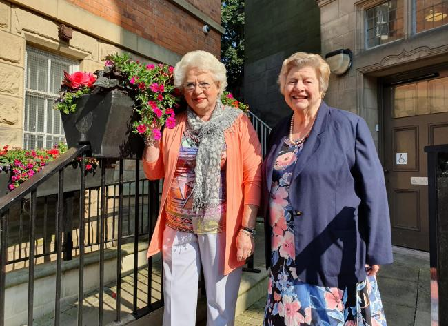 Judge Margaret Thrower and Oswestry in Bloom chairman Betty Gull
