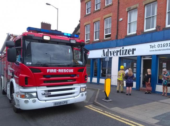 Shropshire fire engine outside the Oswestry Advertizer office