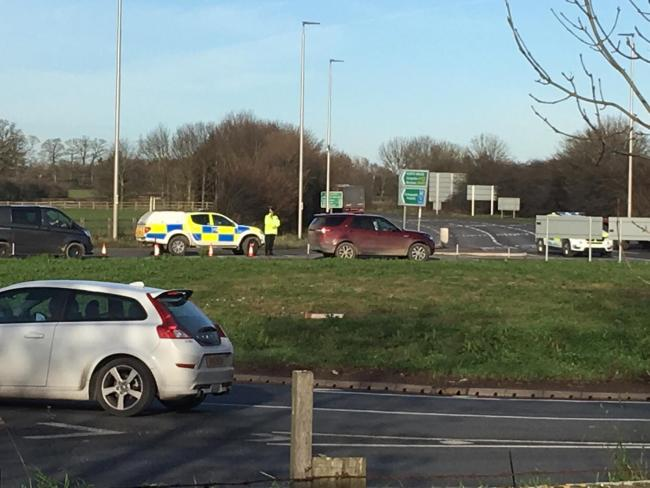 Traffic building up after the crash at the A5/A483 near Mile End