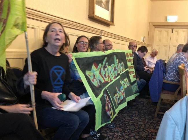 Members of Extinction Rebellion at the meeting in Oswestry