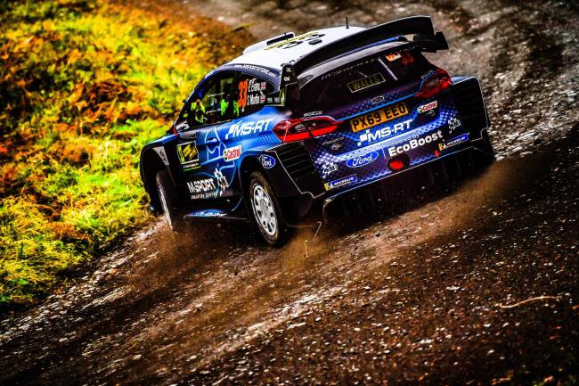 The FIW World Rally Championship stage, which passes through woodland in Aberhirnant near Bala, has been stopped. Picture: Wales Rally GB