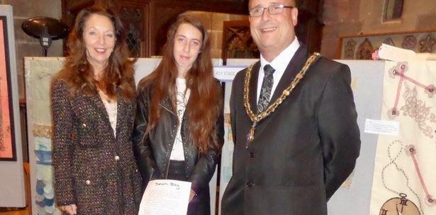 Charlotte Crow with the Mayor and Mayoress of Oswestry, Cllrs John Price and Joyce Barrow