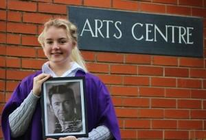 Year 13 student, Gracie Shallcross, with the signed photo