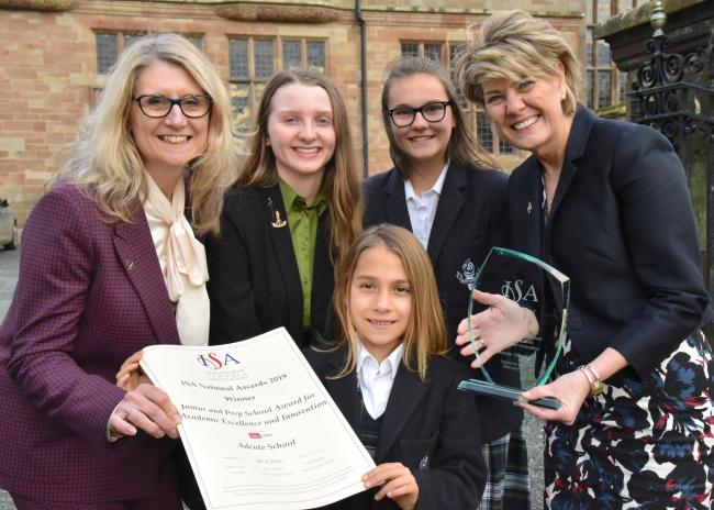 Head of Prep School Nicky Candler, head girl Scarlett Ford, Prep School head girl Rosina Relf, headmistress Diane Browne and pupil Lily Hudson
