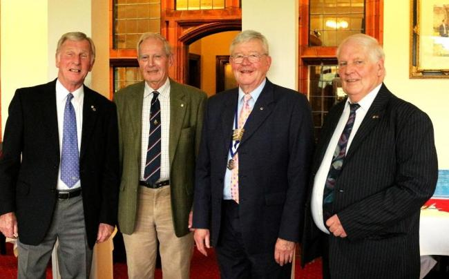 Founders Bob McBride, Peter Davies, Trevor Humphries, retiring president Fred Williams