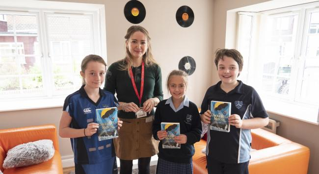 Pictured, from left, Alexa Wilson, author Anna Fargher, Isabella Gharagozlou and Tobias Stubbs