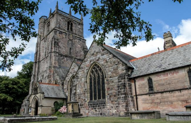 Oswestry views file stock images July 2016..St Oswalds Parish Church..HD270716.