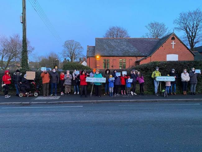 Protestors outside Chirk's Kronospan factory