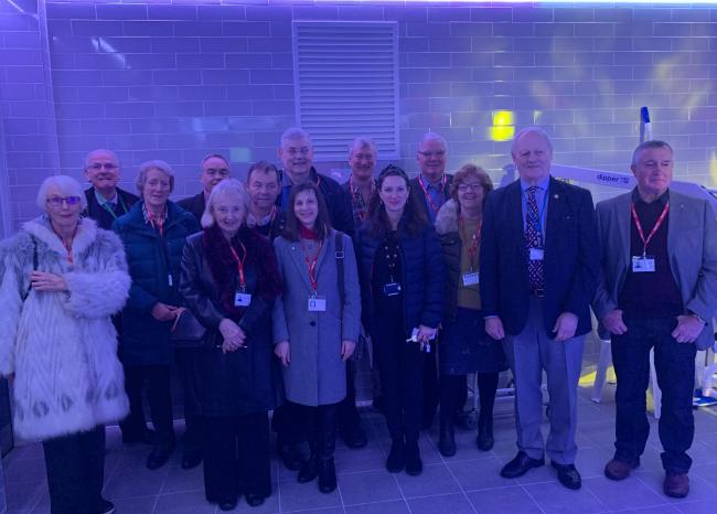 Pictured are Borderland Rotary members with Paul Crosby, second from right and Anna Evans, (Derwen, staff fund-raiser) front row, third from right.