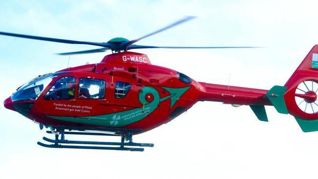 One driver was airlifted from the scene to Royal Stoke University Hospital, where the other driver was later taken by road. Picture: Wales Air Ambulance