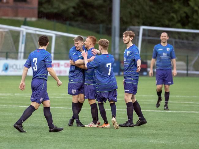 Town celebrate Simon Smith's goal. Picture by Nick Evans-Jones