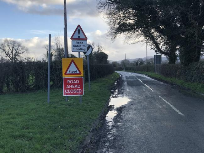 Flood warning in place off the B4398