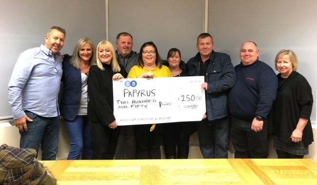 The group who fundraised for Papyrus in Weston Rhyn