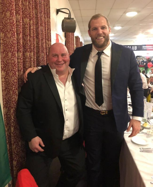 Oswestry Rugby Club chairman Warren Howell and James Haskell