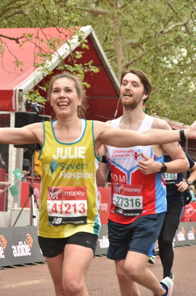 Julie Davies approaching the finish line at last year's London Marathon