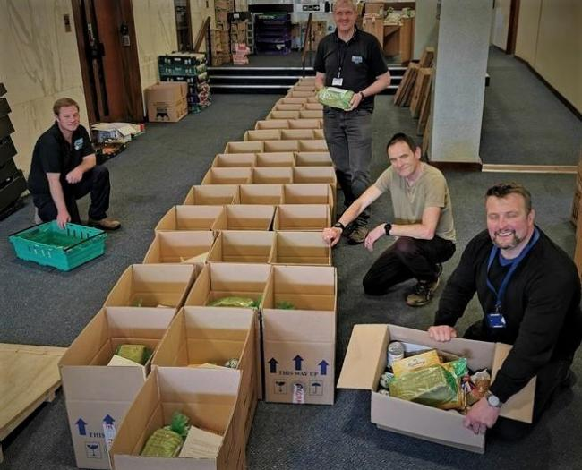 Food parcels being packed