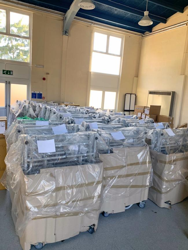 The new hospital beds which have arrived as Powys Teaching Health Board prepare for an increase in coronavirus patients.