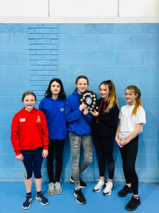 U13 girls Sportshall League Champions – Shannon Wilson, Lexie Youens, Ellen Gray, Libby Williams and Jessica Steel