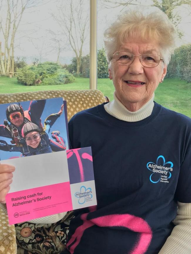 Jane Jones of Llanfyllin is going to to take on a sky dive.