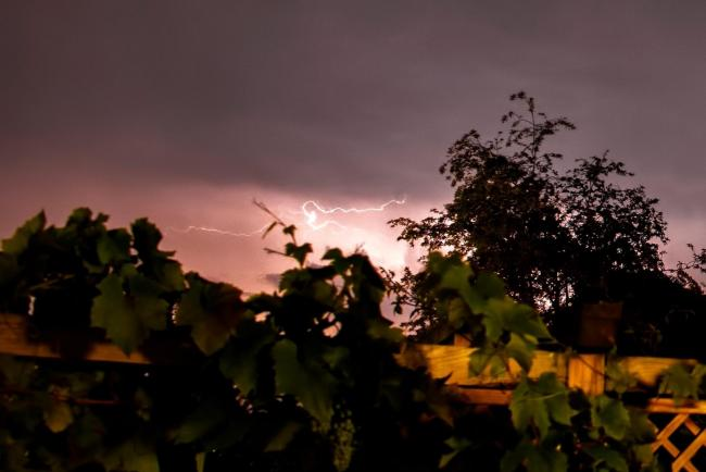 Lightning seen over Whittington last night. Picture by Pete Williamson