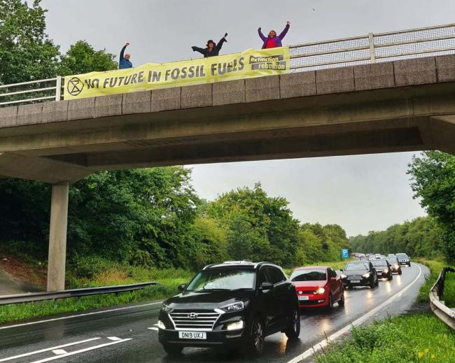 No future in fossil fuels banner over the A5