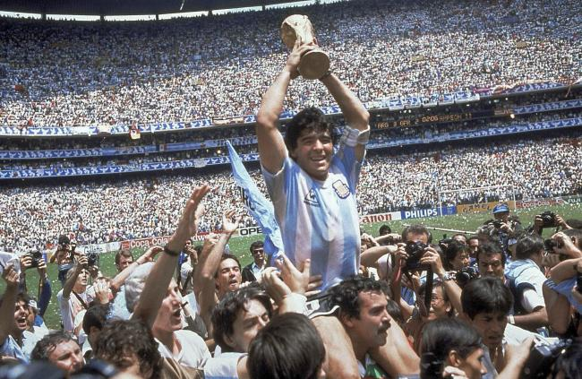 Diego Maradona after Argentina's 3-2 victory over West Germany at the World Cup final at Atzeca Stadium in Mexico City. (AP Photo/Carlo Fumagalli, File).