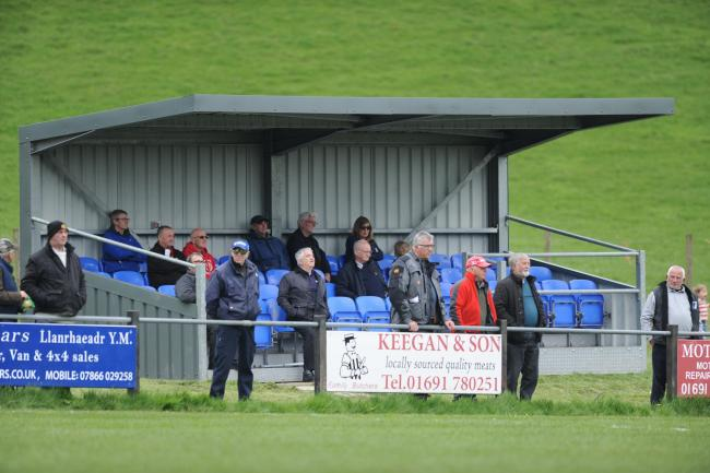 FOR STOCK: A seated stand at Llanrhaeadr Ym Mochnant during the Spar Mid Wales League fixture between Llanrhaeadr YM and Welshpool Town at Tanllan on Saturday, April 27, 2018...Tags: Stadium, stadiwm, ground improvements, regulations, huws gray, welsh pre