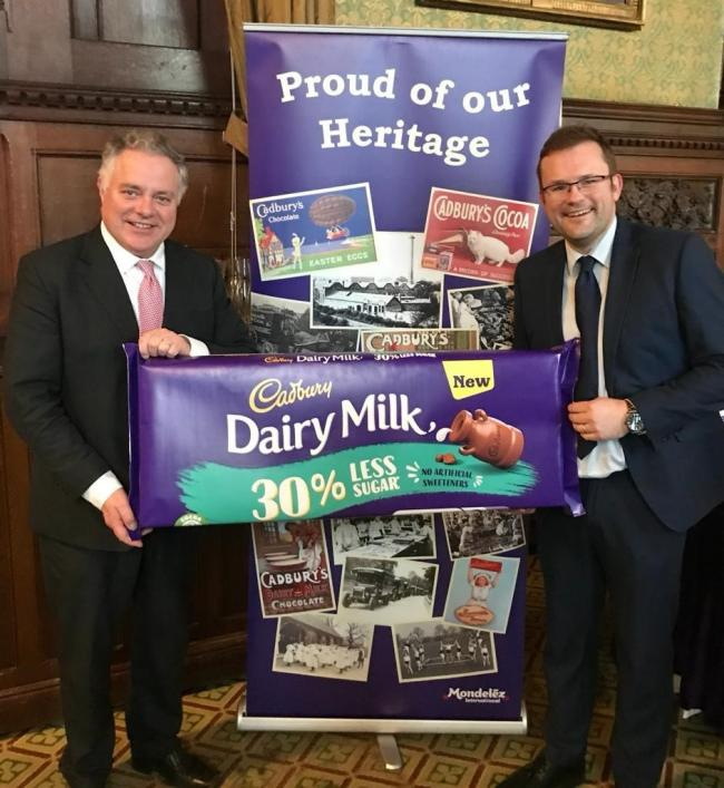 Simon Baynes MP and David Mills, head of external affairs at Mondelez UK and Ireland, March 2020.