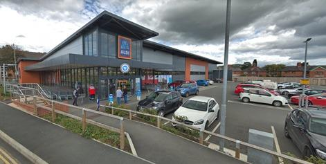 Aldi in Welshpool. Google Street View.