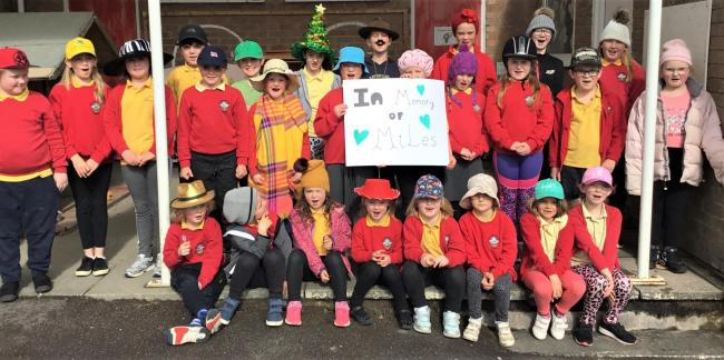 Pupils on Wear a Hat Day at Ysgol Bro Cyllaith