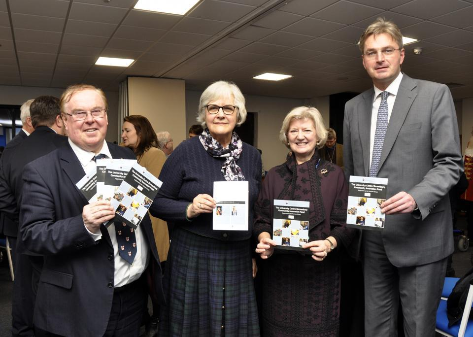 From left to right: Professor Tim Wheeler, Vice-Chancellor of the University of Chester; Jane Coward, Furrows Director; Professor Anna Sutton, UCS Provost, and Daniel Kawczynski, MP for Shrewsbury and Atcham.
