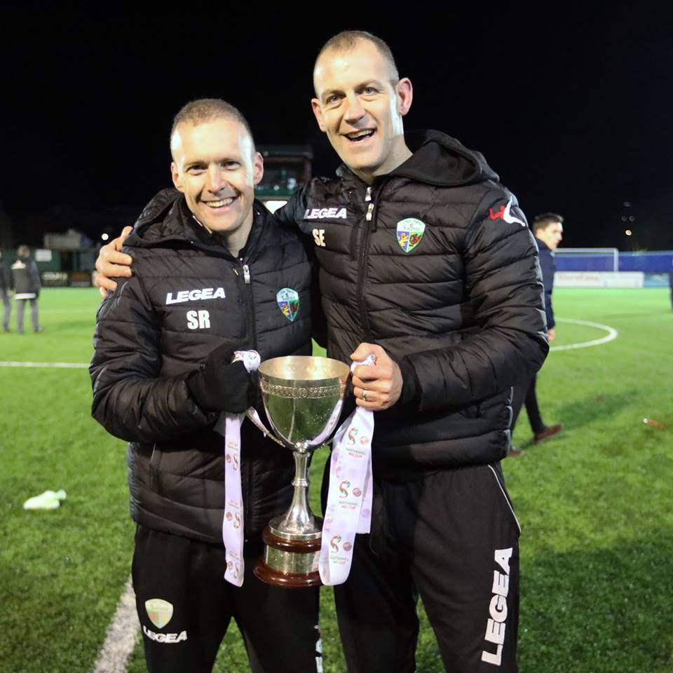 Scott Ruscoe and Steve Evans with the League Cup