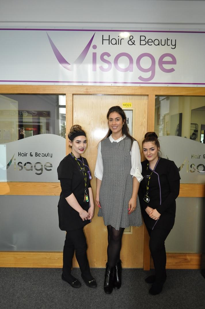 Sophie Evans, competition runner-up, competition Judge Cherida Lauriello and Imogen Humphreys, competition winner. Sophie and Imogen will represent the college at the UK Skills Competition