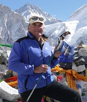 Roy Francis at Everest Base Camp in 2016, the 40th anniversary of the army expedition he had taken part in