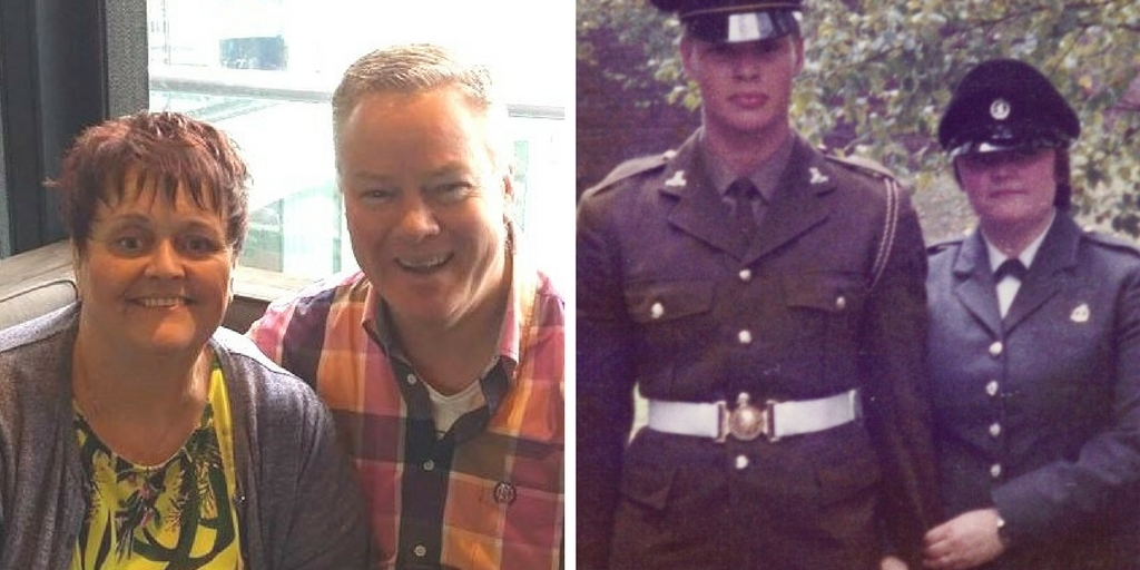 Stuart and his wife Gaynor during their Forces Service (right (also picture SandG1)) and in the present day (left (also picture SandG))