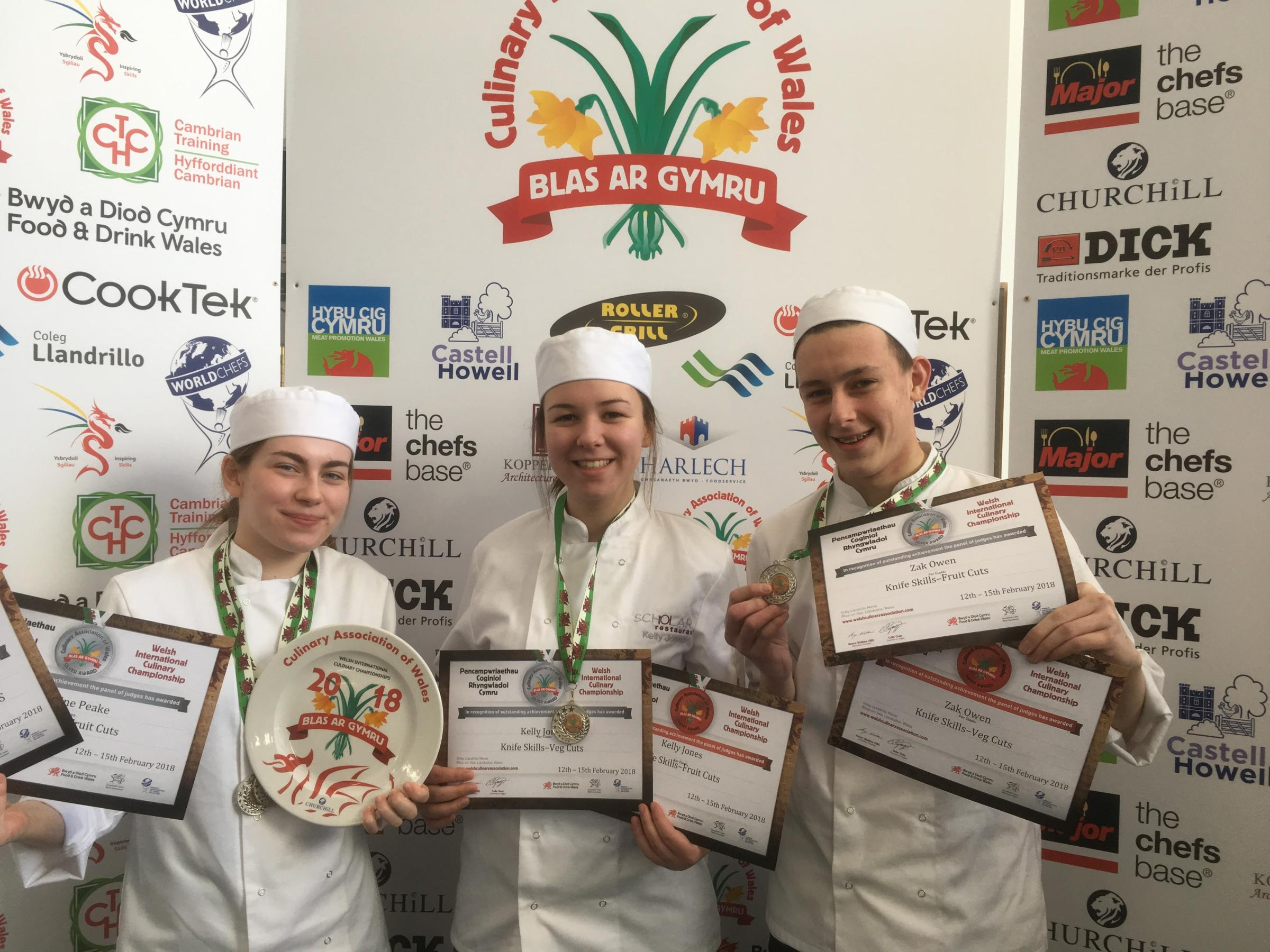 Kathryn Peake (received 2 silver medals and best in class for the week of competition for knife skills), Kelly Jones (silver medal and a certificate of merit) and Zak Owen (silver medal and a certificate of merit) all Level 1 Professional Cookery Students