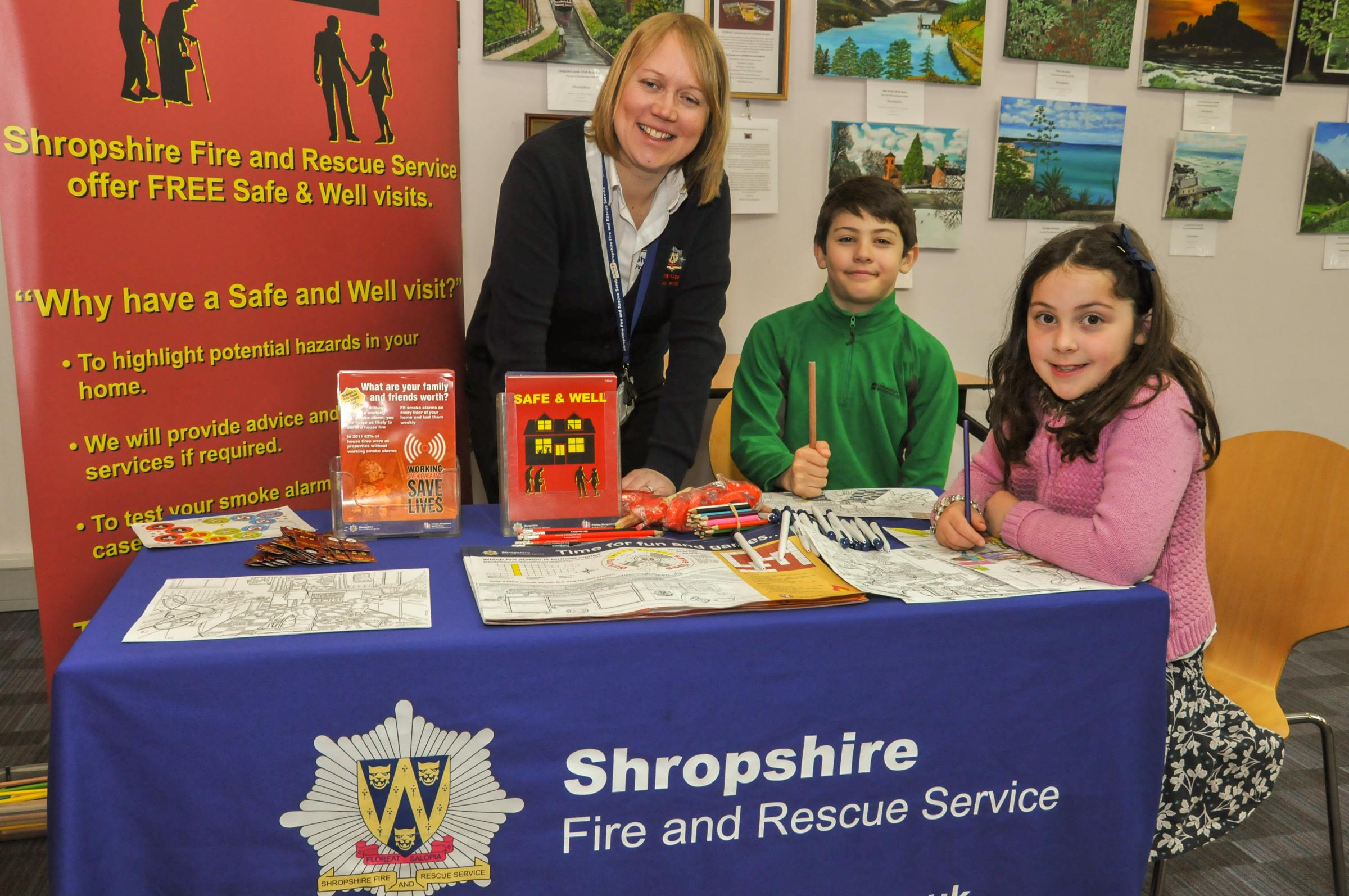 Oswestry Library Shropshire Fire & Rescue Service What are your family and friends worth, Fire team are at the Library to warn kids of the danger of fire.  Picture Laura Kavanagh-Jones of Shropshire Fire & Rescue Service vulnerable persons Officer with Al