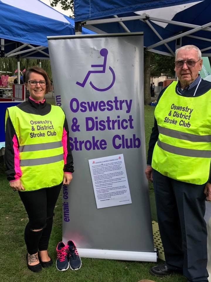Catherine Jackson with Michael Garrett, chairman of the stroke club
