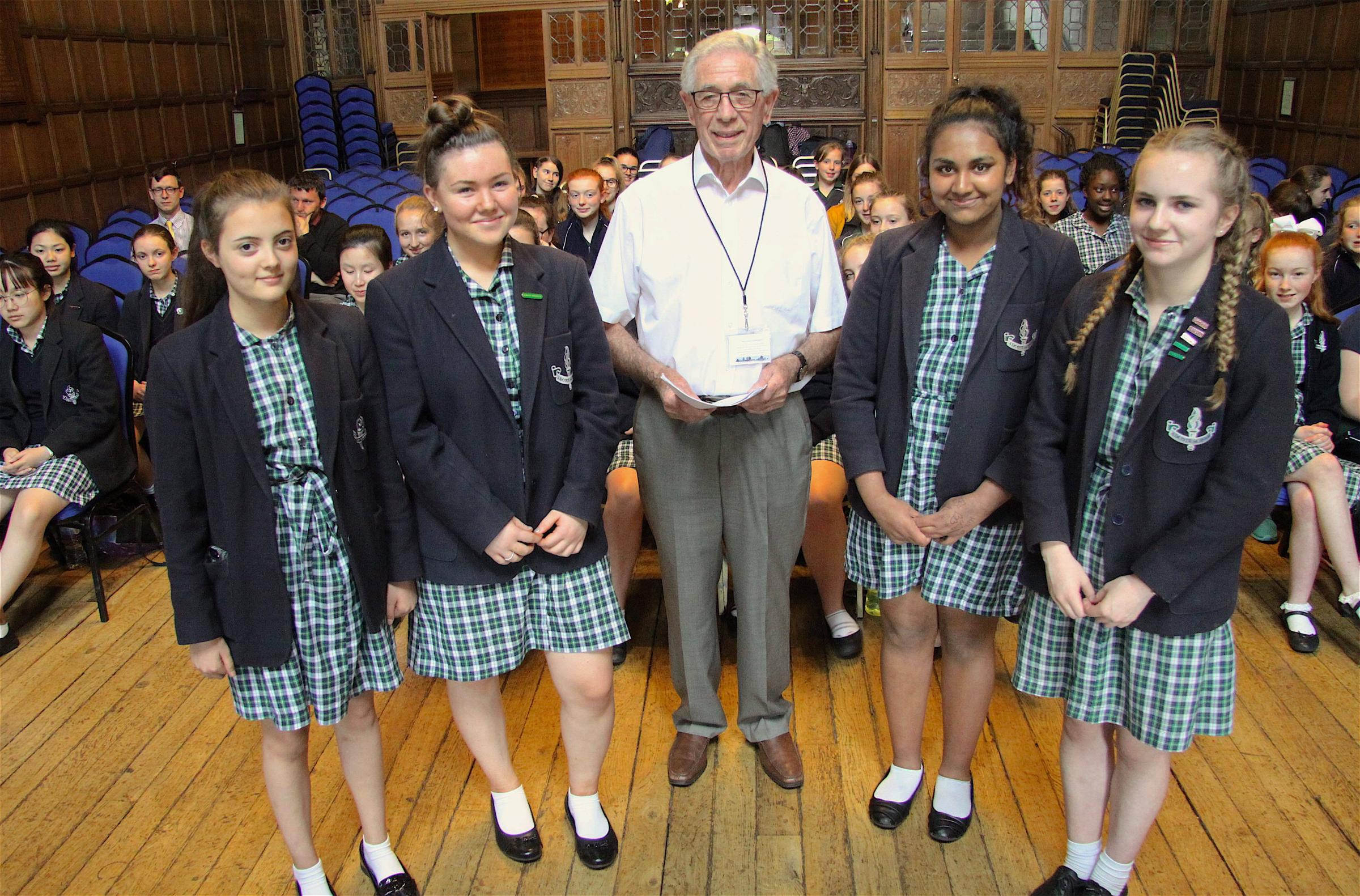 Holocaust survivor Ernest Simon with pupils from Adcote School.