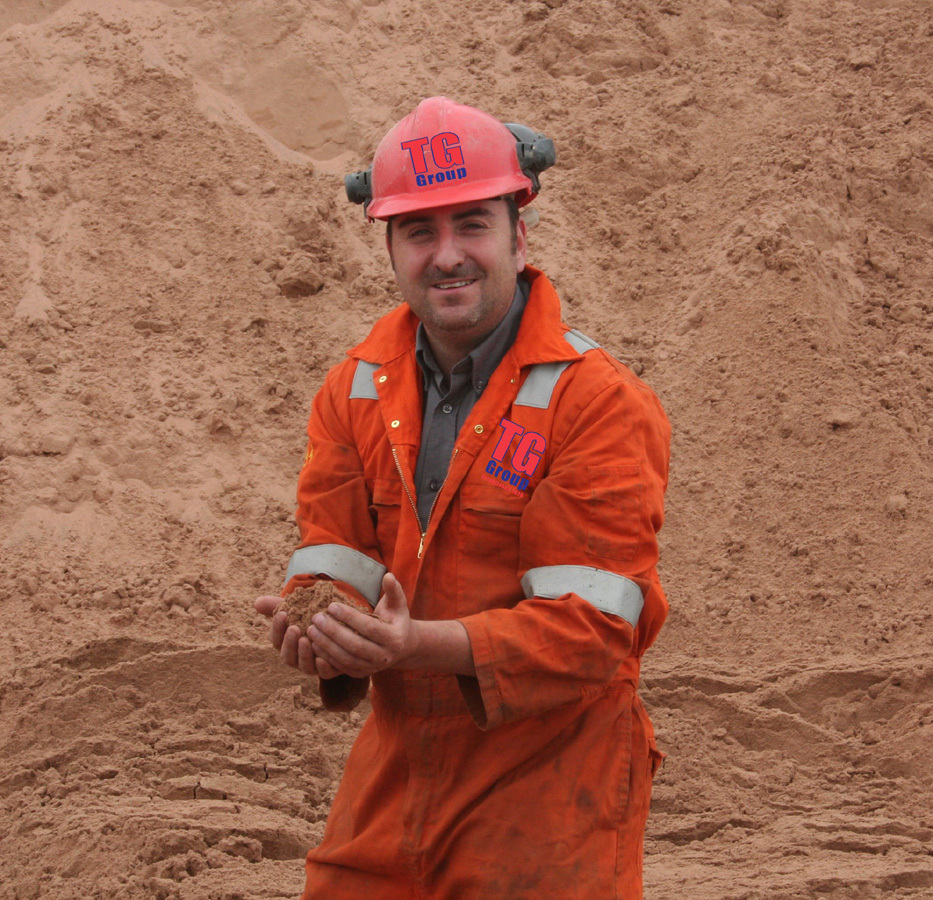 Group Aggregates Manager Huw Thomas with the sand approved by the Energy Network Association