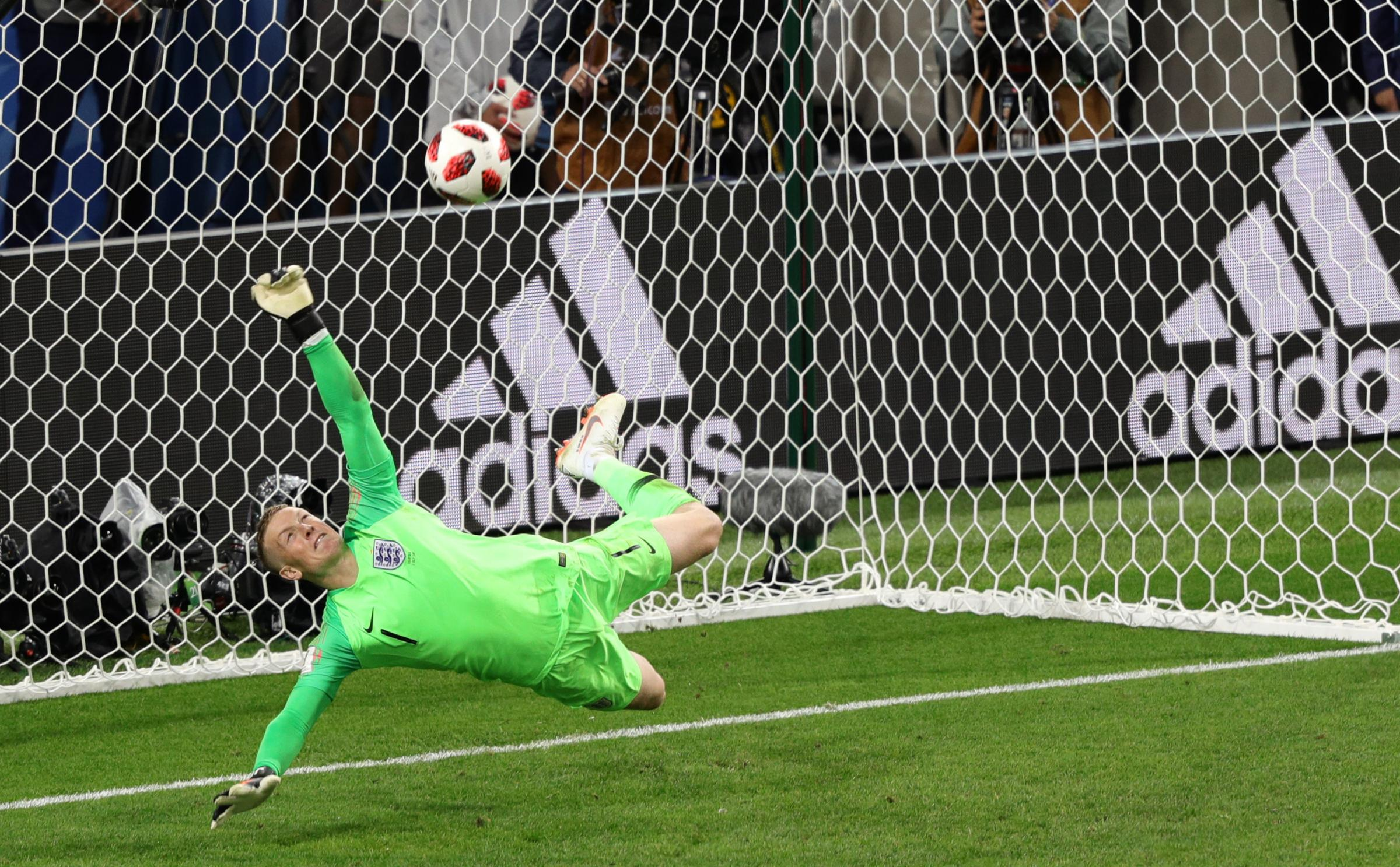 England goalkeeper Jordan Pickford saves a penalty from Colombia's Carlos Bacca during the FIFA World Cup 2018, round of 16 match at the Spartak Stadium, Moscow. PRESS ASSOCIATION Photo. Picture date: Tuesday July 3, 2018. See PA story WORLDCUP Colombia