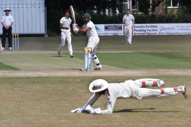 Dean Suter, Oswestry captain, makes a catch last season