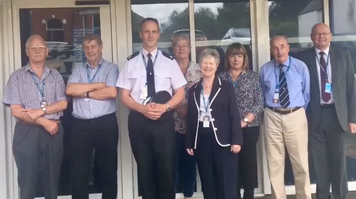 Supt Jason Wells (centre) has hailed the contribution of volunteer CCTV monitoring staff at Oswestry Police Station