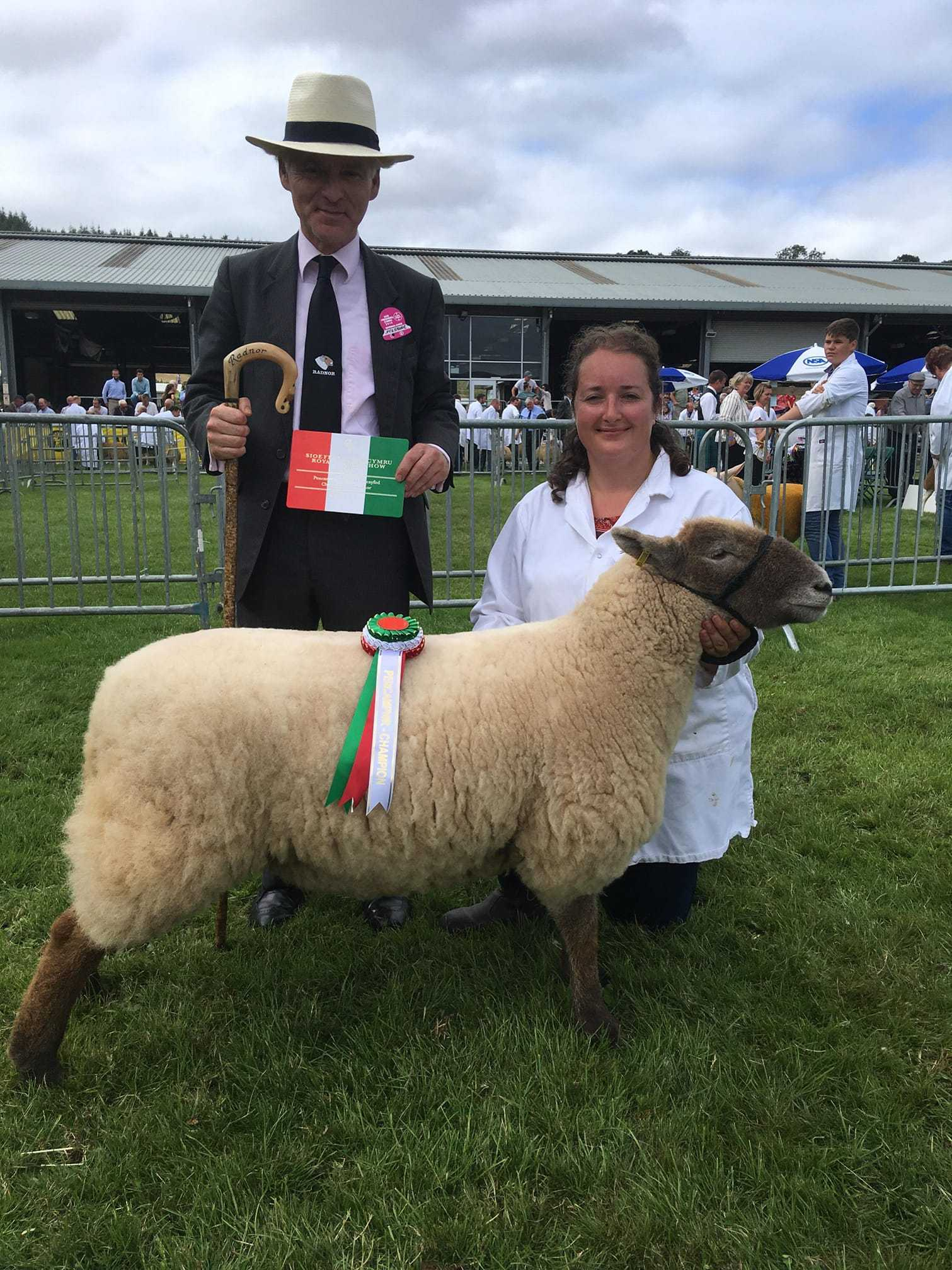 Katie Jones, 33, of Ellesmere, at the Royal Welsh Show with judge Neil Radnor