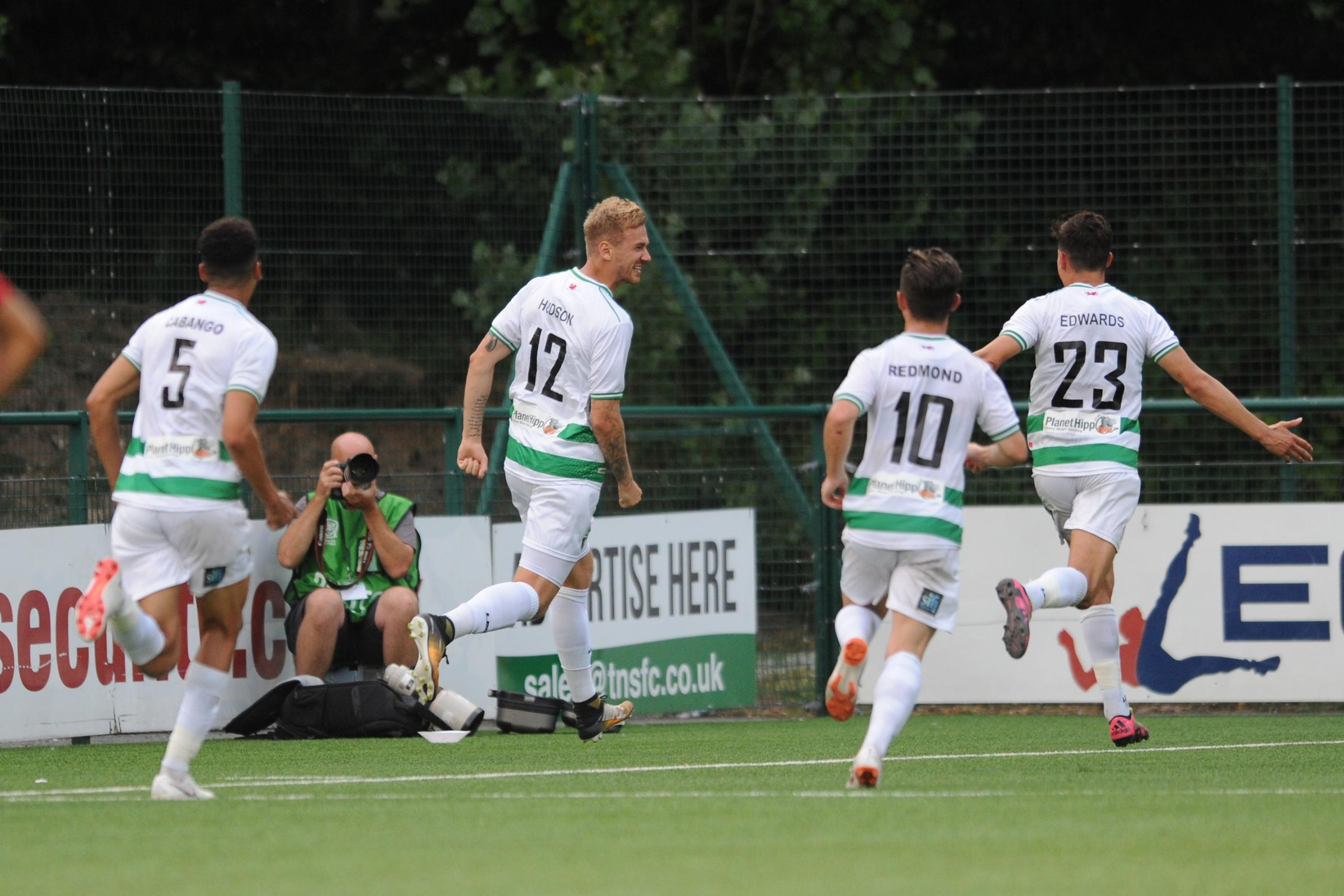 Blaine Hudson scores to make it 2-1 to TNS in the Europa League match against Lincoln Red Imps