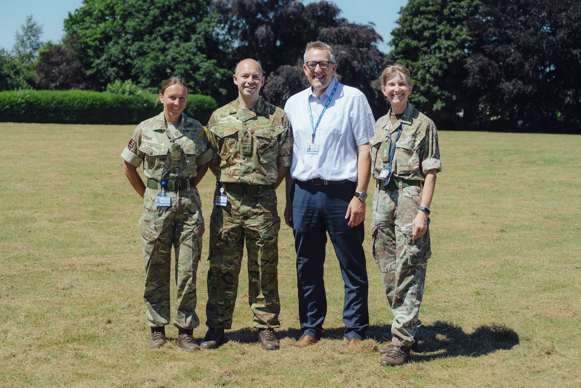 Chief Executive Mark Brandreth with RJAH reservists (from left) Rebecca Warren, Louis McDonald and Maggie Durrant. Rebecca and Louis serve with the 202 (Midlands) Field Hospital, while Maggie is Commanding Officer of the Medical Operational Support Group.