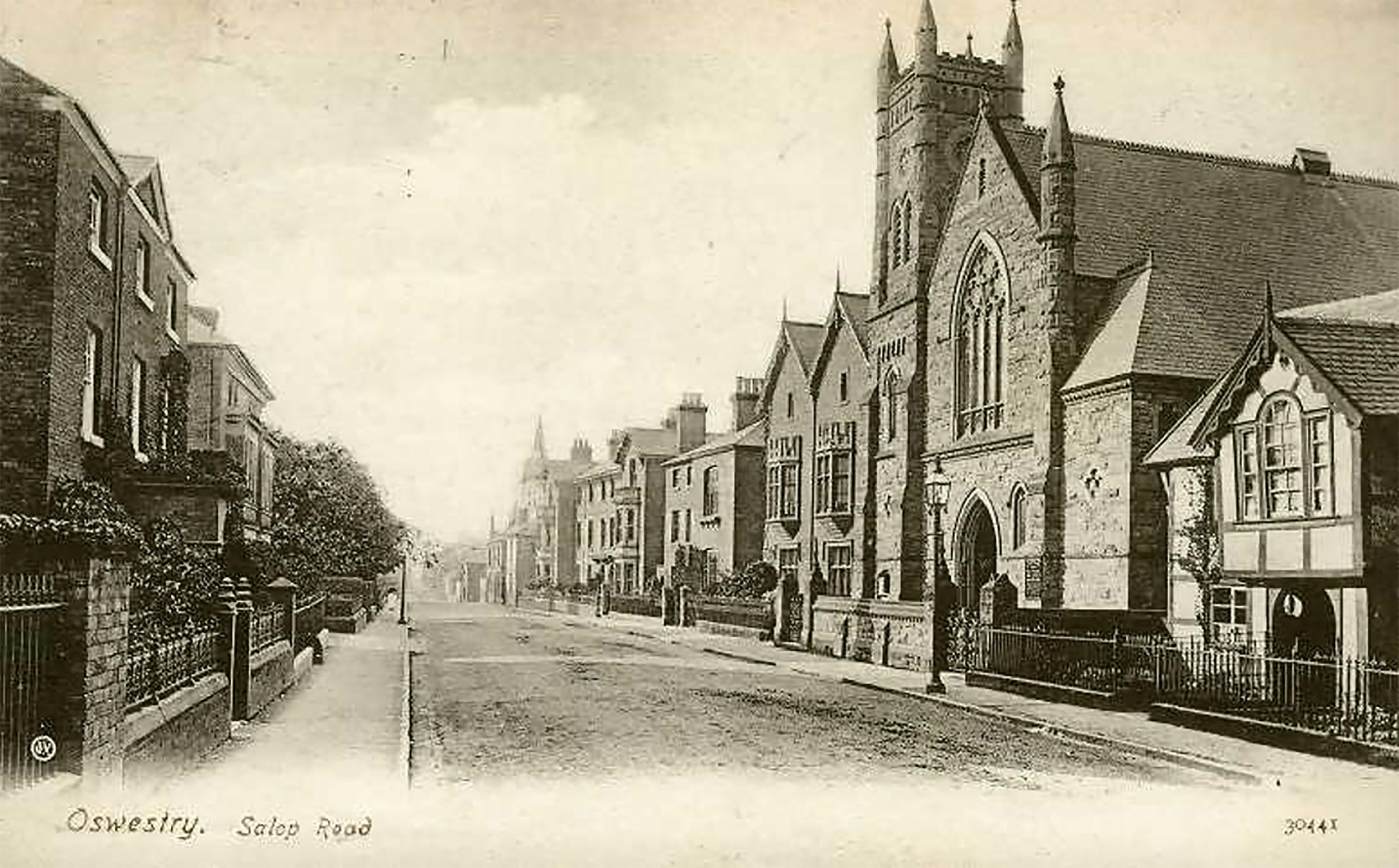 A postcard of the English Baptist Chapel in Salop Road from the 1900s