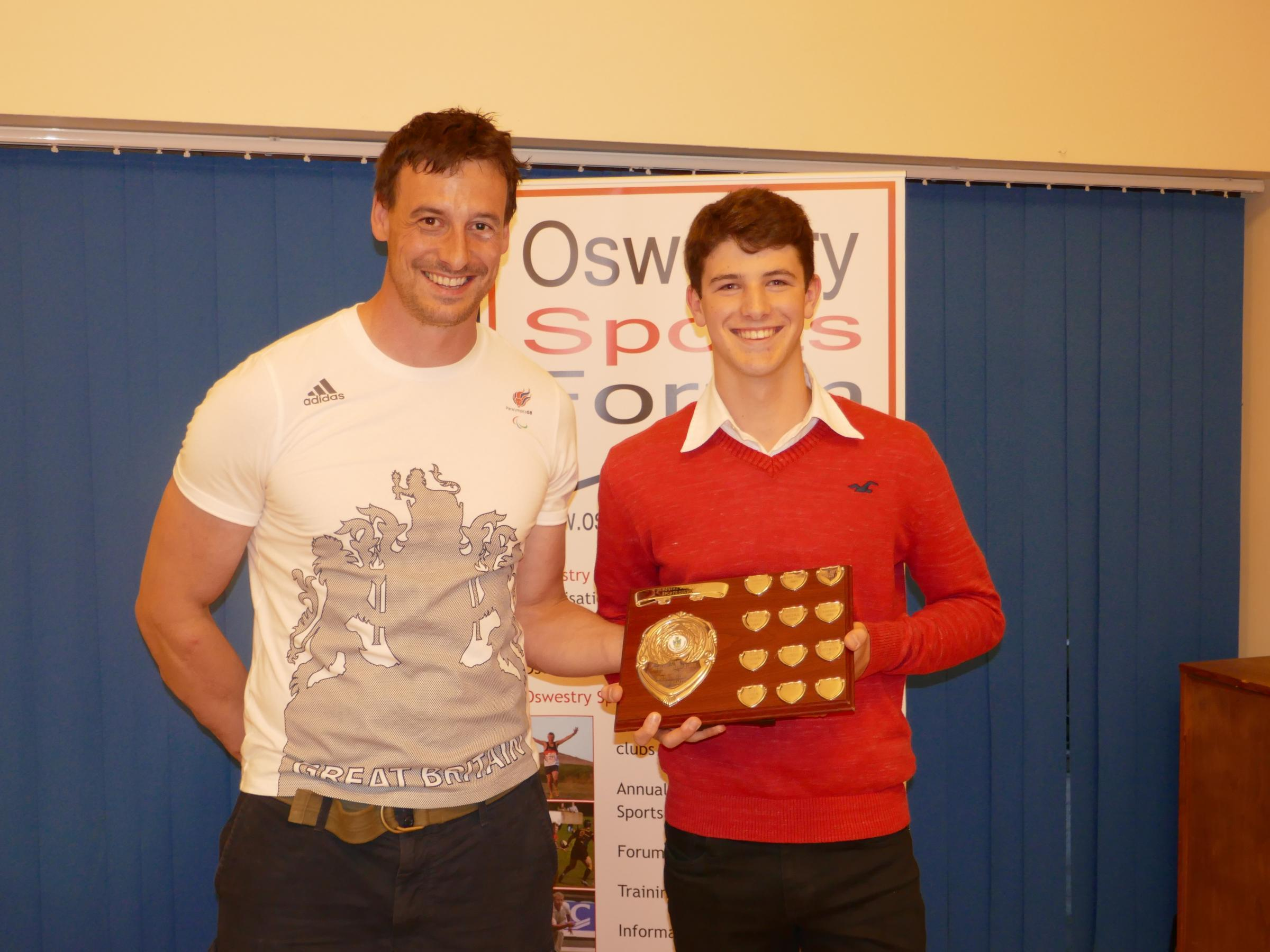 Guest Speaker Nick Beighton with Outstanding Achievement winner Morgan Jones at last year's Oswestry Sports Forum Awards Evening
