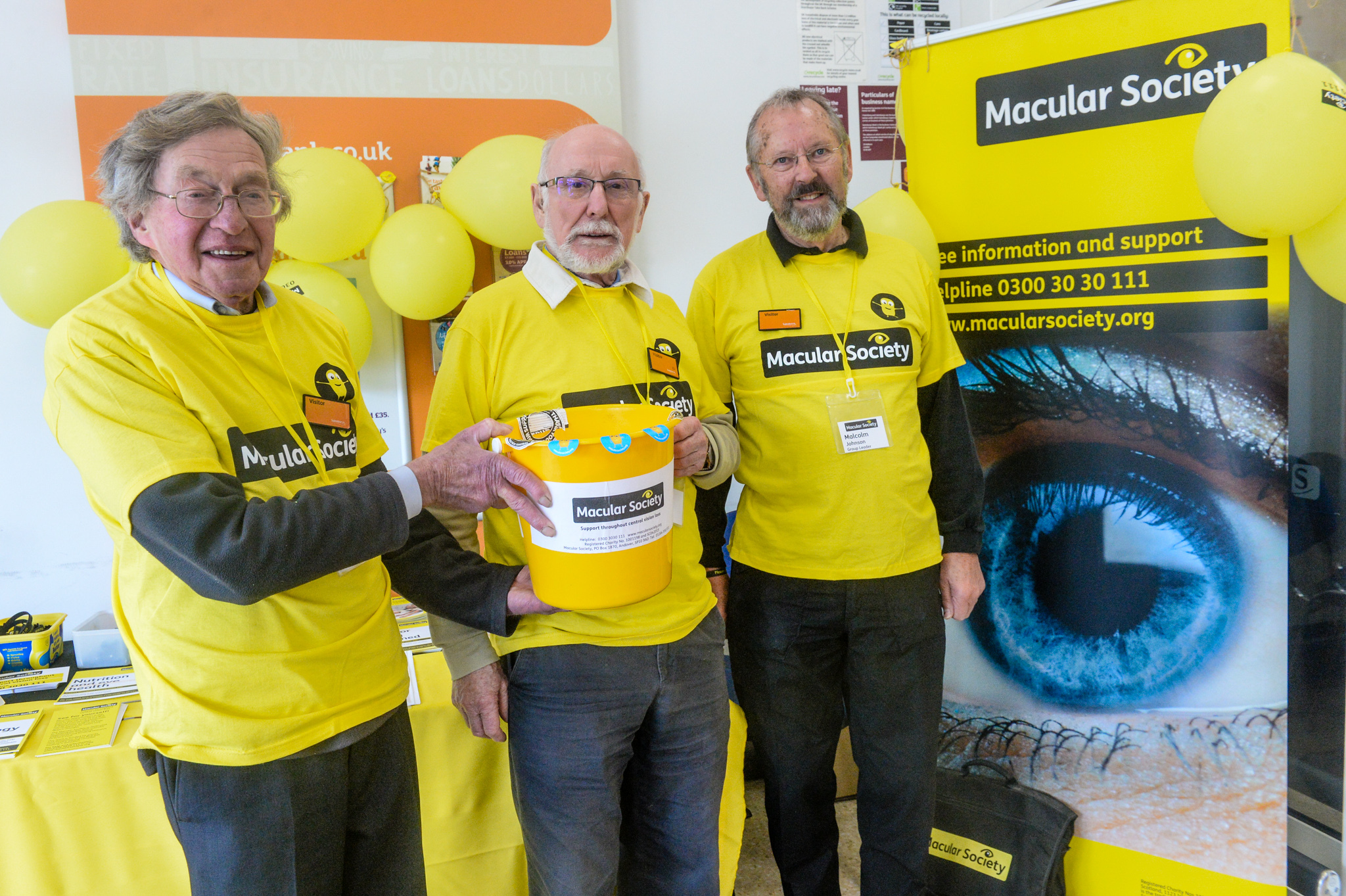 Pictured are Neil Tudr Llewellyn Rogers and Malcolm Johnson at the Macular Society Stall at Sainsburys in Oswestry. ME 071017